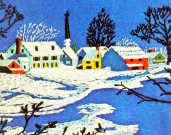 Snowscape Crewel Kit, Avon Winter Crewel,Country Snowscape Kit, Crewel Embroidery, Embroidery Kit, Cottage Chic, Winter Scene Crewel