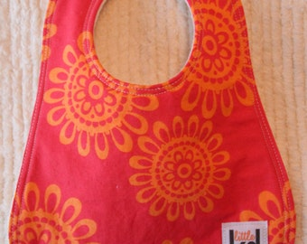 Baby Bib - Coral Sunset, Triple Layer