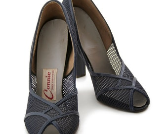 1940s Vintage Navy Shoes Connie - Peek-a-Boo Pumps, Dark Navy Blue Leather and Mesh, 40's High Heels, Navy Shoes