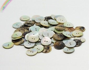 30pcs 15mm Natural Seashell Round Buttons 2-hole Flatback Mother of Pearl Sewing Buttons DIY Craft Supply