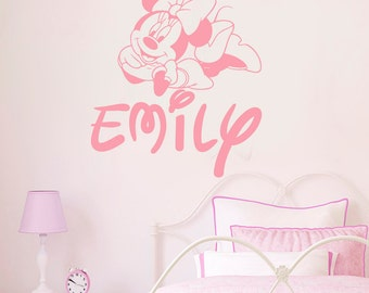 minnie mouse wall decals etsy de. Black Bedroom Furniture Sets. Home Design Ideas