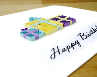 Happy Birthday Greeting Card, Quilling Birthday Cards, Birthday Presents, Quilled Birthday Gift, 3D Birthday Card, Happy Birthday Gifts Card