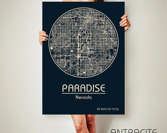 PARADISE Nevada CANVAS Map Paradise Nevada Poster City Map Paradise Nevada Art Print Paradise Nevada poster Paradise Nevada map