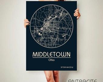 MIDDLETOWN Ohio CANVAS Map Middletown Ohio Poster City Map Middletown Ohio Art Print Middletown Ohio poster Middletown
