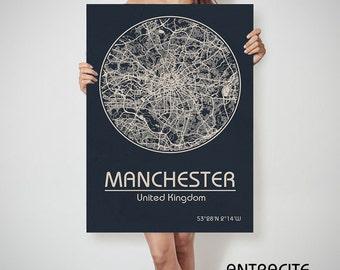 MANCHESTER UK map England Manchester art, Manchester print, Manchester, Manchester map, Manchester England, Manchester wall art, Manchester