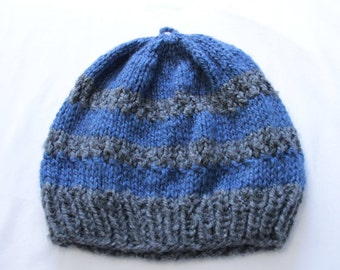 Blue Stripe Knitted Slouchy Beanie Hat