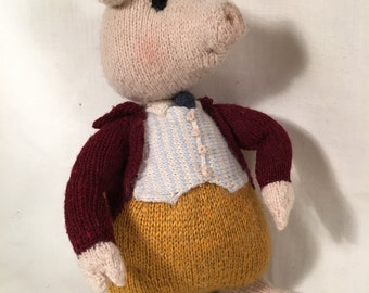 Stuffed Animal Pig : Beatrix Potter Pigling Bland (hand-knitted children's toy, nursery decor)