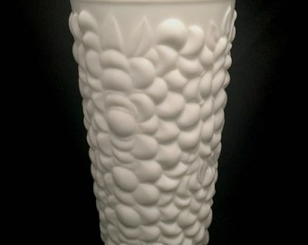 Vintage Heavy White Flower Vase -- Milk Glass Bubble Vase