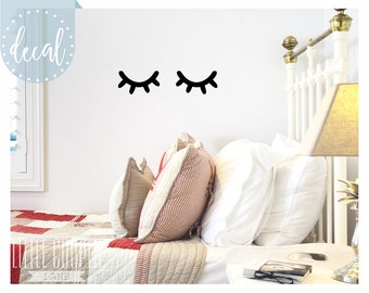 Sleepy Eyes Vinyl Wall Decal Sticker | Closed Eyes Kids Decor | Eyelashes | Baby Boys or Girls Nursery OR Kids Room_ID#1428