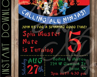 Ninjago Birthday Invitation   Lego Ninja Birthday Party Printable Invite   Lego Ninjago Inspired Invitation   Ninjago Invitation