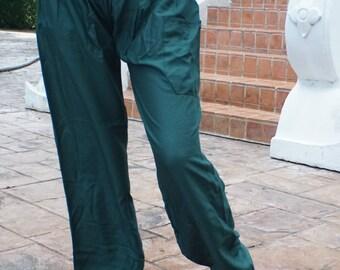 Harem pants yoga pants hippie pants cozy pants Dark Green