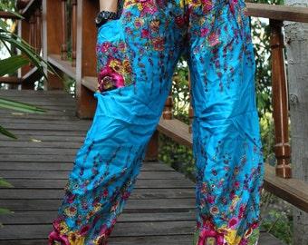 Flower pants harem pants hippie pants cozy pants Blue