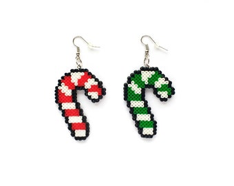 Candy Cane Earrings / Christmas Jewelry / Geeky Holiday Gift / 8BitEarrings / Mini Perler Beads