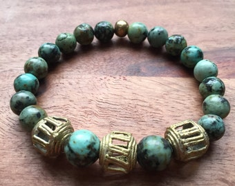 African Turquoise and African Brass Bracelet