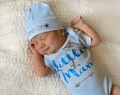 Little Man newborn boy bodysuit...newborn boy gown...Baby shower gift...baby boy take home outfit...newborn boy hospital outfit