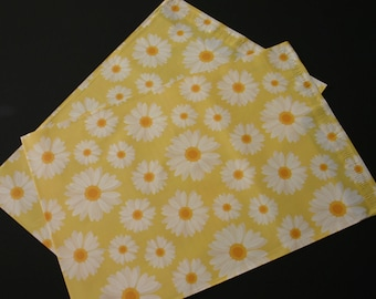 200 Designer Poly Mailers 10x13 Yellow White Daisies Envelopes Shipping Bags Spring Mother's Day