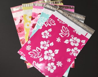 100 Assorted Designer Poly Mailers 10x13  Flowers Hibiscus Roses Daisies 20 Each Envelopes Shipping Bags