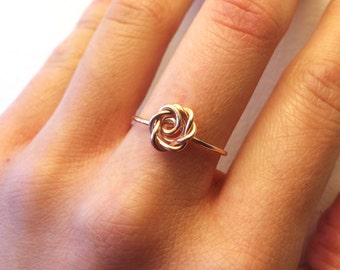Rose Ring Rose Gold -14K Gold-Filled /Sterling Silver Wire -Flower Girl /Pink /Love /Girlfriend Gift /Bridesmaids /Anniversary /Summer