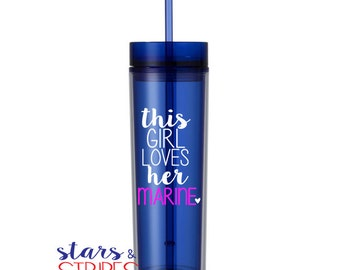 This Girl Loves Her Marine 16oz Tumbler. USMC EGA America Veteran Hero Homecoming Deployment Milso wife girlfriend fiance Veteran Patriotic