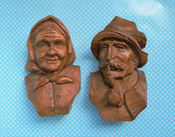 Vintage german carved wooden heads old man and woman for