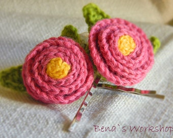 Hand Crochet Hair Pins, Small Pink Flowers - set, Rose Hair Clips, Hair Pins, Flower Hair Pins, Crochet Flowers, Flower Bobby Pins
