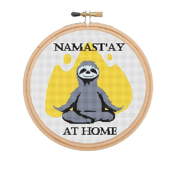 Namast Ay At Home Cross Stitch Sloth Yoga Namaste