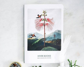 Sketchbook, notebook A5, 72 or 128 pages for write and draw with flowers. Creamy and plain paper. By HIVER BOOKS