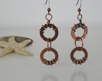 New Price - Textured Copper Earrings, Antiqued Hammered Copper Washer Earrings, Copper Washers and Ring Earrings, Boho Earrings