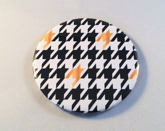 Pocket Mirror Houndstooth Black White and Gold