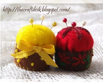 Miniature pincushion - YELLOW - 100% wool felt mini cushion for pins , bottle cap ,  recycled , thecraftdesk