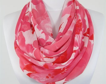 Summer Scarf Floral Scarf Pink Scarf Shawl Infinity Scarf Circle Scarf Loop Scarf Women Fashion Accessories Christmas Gift For Her For Mom