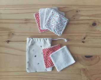 Washable and reusable wipes (kit of 6)