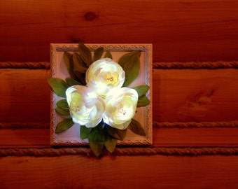 Flower-in-frame styled  LED night lights, battery powered