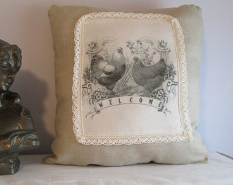 Welcome Chickens Country Pillow
