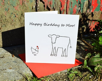 Happy Birdday to Moo Card - Funny Hand-drawn Card