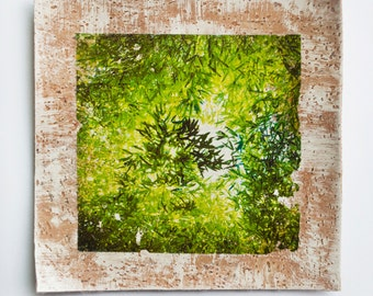 Photo on wood, Photo Bamboo, Diptych, Woodland, Photo on cork, Nature, Tree photograph, Green, Leaves, Wall art, Eco-friendly, 4x4, 10x10
