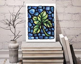 Green Leaf Art Print - Leaf Artwork - Bedroom Art Decor - Leaf Image - Home Decor - Wall Art - 8 x 10 inch - Signed by Artist Kathy Lycka