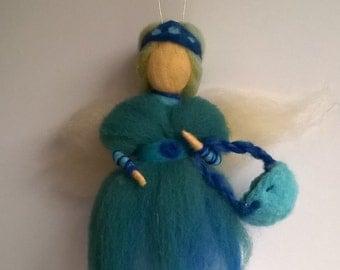 eedle felted teeth fairy doll-merino wool/waldorf doll