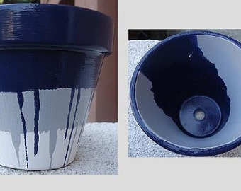 Navy Blue, Grey, and White Hand-Painted Pot//Hand-Painted Pottery//Striped Hand-Painted Pot//Navy Flower Pot