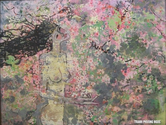 """Lost in the Cherry Blossoms 51x39"""" oil on canvas, thick layers, wall decor, original painting by Nguyen Ly Phuong Ngoc"""