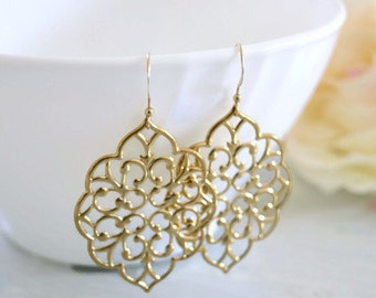 Gold  Earrings. Boho Chic Bohemian Earrings, Dangle Earrings, Moroccan Earrings, Bautiful Gift Atzmonana Jewelry
