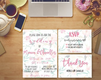 Wedding Invitation Printable Floral Bridal Print Digital Bridal Invites Kit Custom Watercolor Modern Peonies - BS4