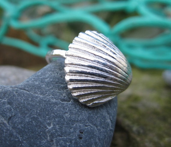 cornish silver shell ring