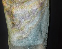 warm openwork scarf from the Angora goat down, downy shawl blue, gift for women, knitted scarf made of goat down, pale blue color shawl