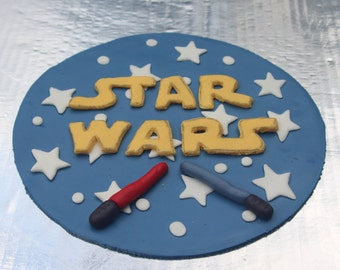 Fondant Star Wars And Light Sabers Round cake topper