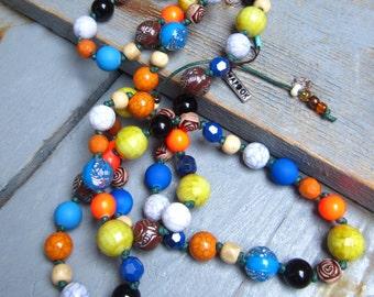 Ethnic necklace multicolor #3