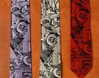 Surreal Art - SILK Men's Necktie - Weird Art - Cool Men's Gifts - Surrealism - Men's Silk Necktie - Silkscreen