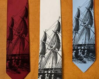 Men's Tie - Ship Necktie - Men's Boat Tie - Navy GIfts