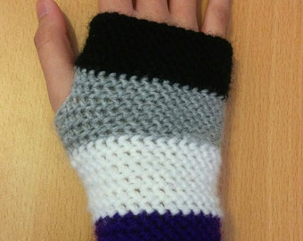 Ace Pride Crocheted Fingerless Gloves Handwarmers - READY TO SHIP