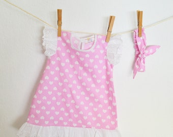 Valentines Baby dress~ valentines baby knot~ valentines baby headband~ valentines baby outfit~ baby pink set~ pink dress~ pink headband